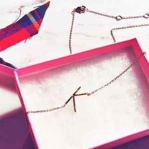 """Gold Small Letter """"K"""" Necklace. Alphabet Necklace"""